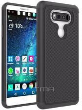 Fits LG V20 Case Shockproof Heavy Duty Rubber Impact Hybrid Cover - Black