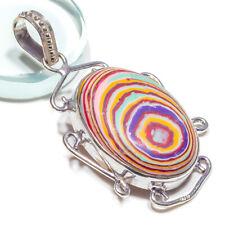 Rainbow Calcica Gemstone 925 Sterling Silver Jewelry Pendant 2 Inch 8440