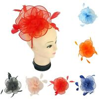 Women's Ladies Feather Wedding Fascinator Satin Net Hat Headband clip Race Royal