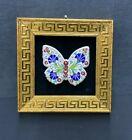 Butterfly Art Frame Wall Tile  Handmade Turkish Ottoman Design Wall Art Ceramic