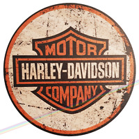 Circle Wooden Signs - HARLEY DAVIDSON Mancave Vintage Retro Wood Motorbike Sign
