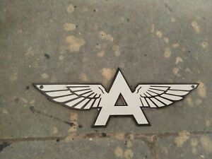 """Porcelain Flying A White Enamel Sign Size 12"""" X 4.5"""" Inches"""