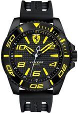 *BRAND NEW* Ferrari Men's Black Silicone Strap and Yellow Dial Watch 0830307