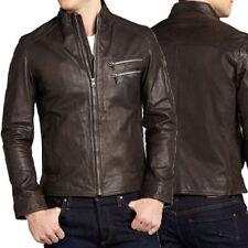 DE Herren Lederjacke Biker Men's Leather Jacket Coat Homme Veste En cuir R44