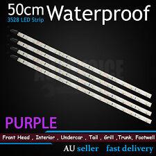 4x 50cm 3528 SMD LED Strips Light Waterproof PURPLE PINK Car Camper Caravan 4WD