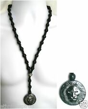 "ETHNIC INSPIRED: MENS CHUNKY BLACK WOOD BEAD HEMATITE LION PENDANT 27"" NECKLACE"