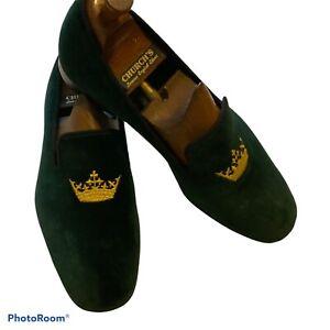 Church's Men's Sovereign Crown Green  Velvet Slippers Size 09  Made In England