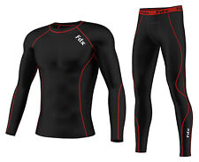 FDX Mens Compression Armour Base layer Top Skin Fit Shirt + pants / Tights set