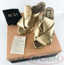 BIG SALE! AUTHENTIC $709 N21 Camel Satin Bow Mules Size 35