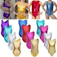 Girl Kid Shiny Metallic Leotards Gymnastics Ballet Leotard Dance Dress Dancewear