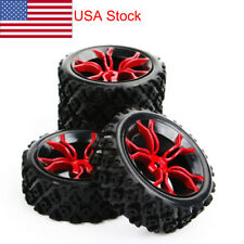 4x Rubber Rally Tires&Wheel 6mm Offset 12mm Hex For HSP HPI RC 1:10 Off Road Car