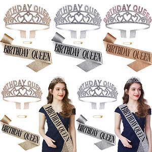 Birthday Queen Sash Tiara Women Birthday Party Supplies Decorations Accessories