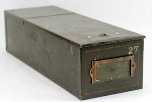 Vintage Antique Metal Bank Safe Money Deposit Lock Box