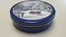 Christmas/Holiday Winter Snow Scene Sleigh Ride Round Cookie/Sweets Tin