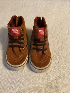 Vans Off The Wall Skater Brown Leather High Top Sneakers Baby Toddler Size 6.5