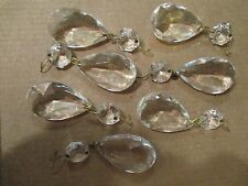 Lot 7 Clear Glass Hanging Lamp Prism Pieces Teardrop with Round