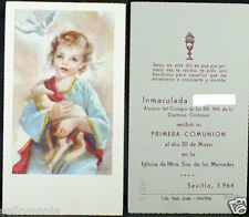 OLD FIRST COMMUNION REMEMBRANCE HOLY CARD YEAR 1964 ANDACHTSBILD SANTINI   C1090