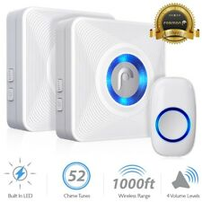 LED 4 Volume 1000FT Wireless Doorbell Chime [2 Plugin Receiver + 1 Transmitter]