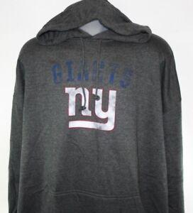 Mens NFL Team Apparel New York NY Giants Grey Screen Printed Pullover Hoodie