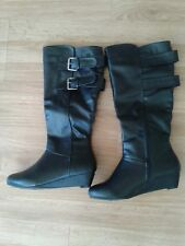 Womens Bamboo Wedges Boots Size 7 Black