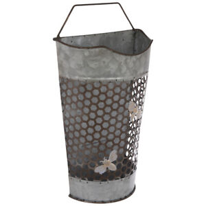 Beehive Galvanized Metal Wall Basket - Small. SET OF TWO