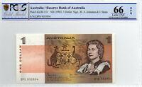 1982 Australia $1 note Johnston/Stone Last Prefix Gem Unc 66 OPQ PCGS DPS 903954