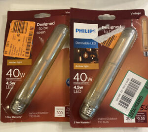 2-Philips vintage LED light bulb T10 dimmable 4.5w/40w replacement