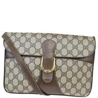 Authentic GUCCI GG Logos 2Way Shoulder Clutch Bag PVC Leather Brown Gold 02BQ230