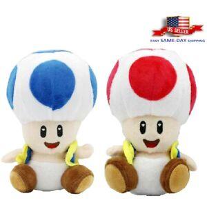 "Super Mario Bros Mushroom Toad Red / Blue Plush Toy Doll Gift Stuffed Animal 7"""