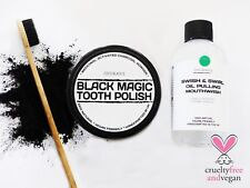 PEPPERMINT OIL PULLING MOUTHWASH + ACTIVATED CHARCOAL TOOTH POLISH + TOOTHBRUSH