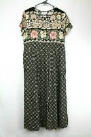 Just In Thyme Petite Women's Size 10 Black/Tan/Pink Floral Patterned Dress