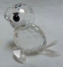 "Swarovski Austria Silver Crystal Figurine: Seal #7663 1.25"" Long"