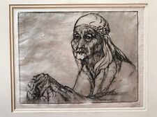 """Etching of Old Woman Very Expressive 7.75 X 9.75"""""""