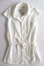 ATMOSPHERE WOMENS WHITE SHIRT BLOUSE STRIPE LONG TIE CAP SLEEVE SIZE 8 NEW