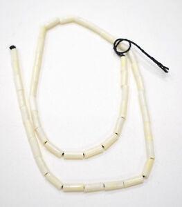 Beads Bone White Small Thin Tube Beads 11mm