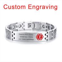 Silver Men Health Magnet Therapy Bracelet Medical Alert ID Free Custom Engraving