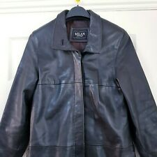 MILAN LEATHER Size 10 - 12 Black Real Leather Long Coat Jacket