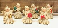 Homco Angel Christmas Ornaments Set of 6 Porcelain Hand Painted Vintage