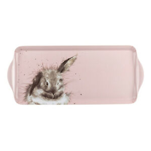 Wrendale Sandwich Serving Tray Bathtime Rabbit in Pink Melamine from Pimpernel