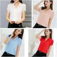 Korean Women Ladies Short Sleeve OL Career Slim Shirt Blouse Tops FS
