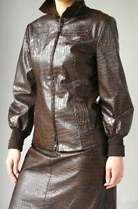 NANETTE LEPORE BROWN LEATHER  SUIT -   JACKET and  SKIRT  fits 10