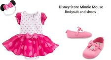 Disney Store Minnie Mouse Baby Girl Bodysuit Costume & Shoes Sz 12-18m NWT B21