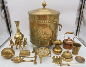 7.4kgJob Lot of Brass Items - Coal Bucket, Ornaments, Nut Crackers, Tableware