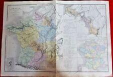 Antique Carte France Agricole 1870 Ancienne Provinces Paris Bourgogne Corse