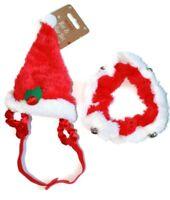 Christmas Hat & Collar 2 Piece Set Bells Pet Dog Puppy Cat Kitten Xmas Gift New