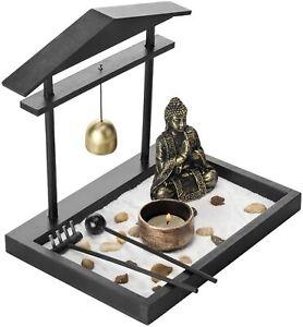 Mini Zen Sand Garden Set with Buddha Statue, Bell, Rake, Candle Holder & Tray