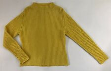 Madison Studio Cashmere sweater M yellow Cord Knit Turtleneck 2 ply