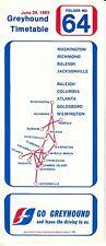 Greyhound Timetable June 29 1983 Folder No 64 Washington Atlanta Jacksonville