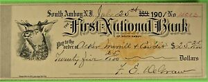 Bank Check, First Nat  Bk, South Amboy, NJ Revenue imprint, Elk head Vignette