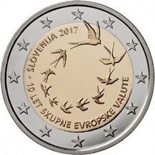 2 EURO COMMEMORATIVA SLOVENIA 2017 10 ANNIVERSARIO INTRODUZIONE EURO RARA FDC UN